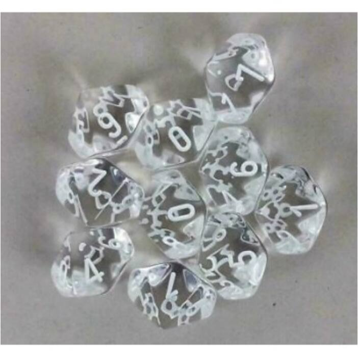 Chessex Translucent Polyhedral Ten d10 Set - Clear/white