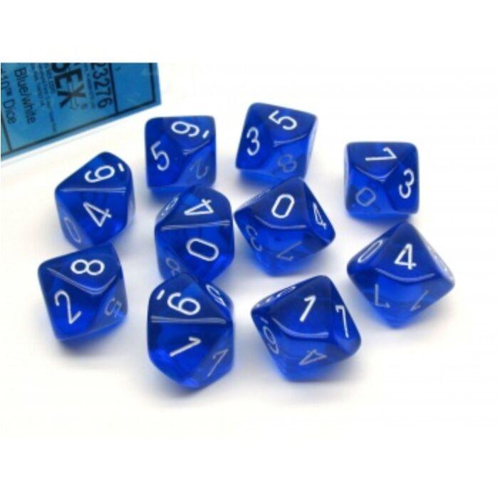 Chessex Translucent Polyhedral Ten d10 Set - Blue/white