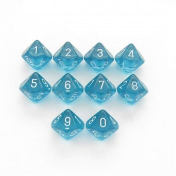 Chessex Translucent Polyhedral Ten d10 Set - Teal/white