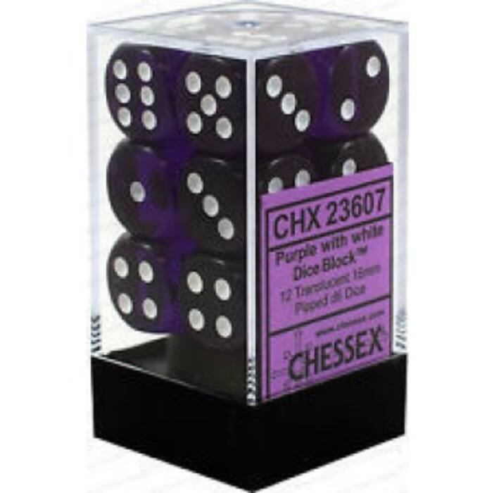 Chessex Translucent 16mm d6 with pips Dice Blocks (12 Dice) - Purple w/white