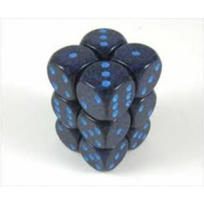 Chessex Speckled 16mm d6 with pips Dice Blocks (12 Dice) - Cobalt
