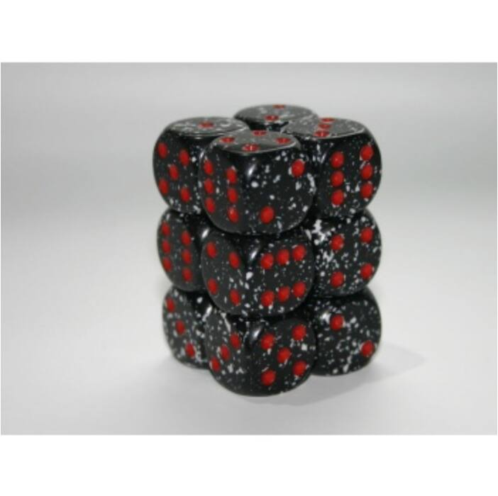 Chessex Speckled 16mm d6 with pips Dice Blocks (12 Dice) - Space