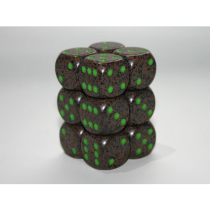 Chessex Speckled 16mm d6 with pips Dice Blocks (12 Dice) - Earth