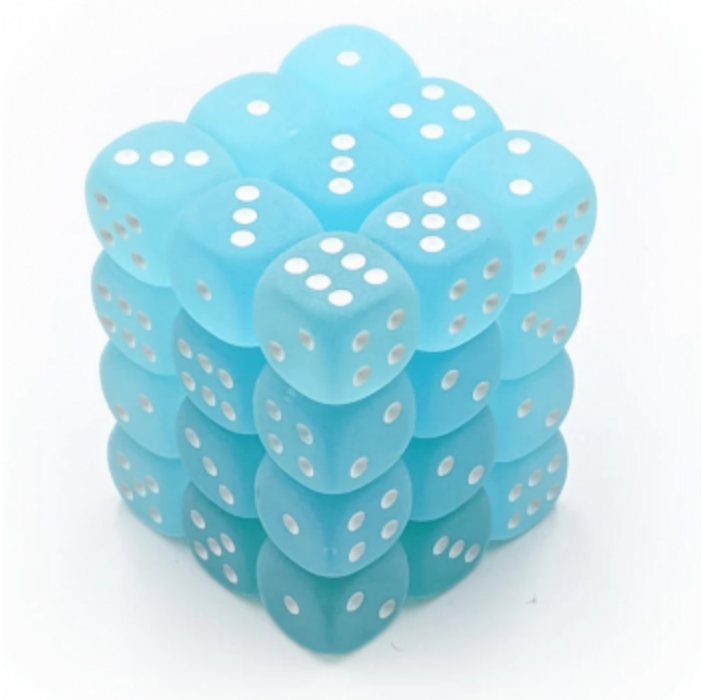 Chessex Signature 12mm d6 with pips Dice Blocks (36 Dice) - Frosted Teal w/white