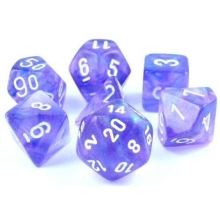 Chessex Borealis Polyhedral Purple/white Luminary 7-Die Set
